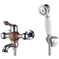 Смеситель Kaiser Wood 61022 хром/дуб для ванны