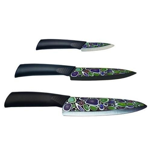 Набор ножей IMARI WHITE BLACK (3 ножа) на деревянной подставке