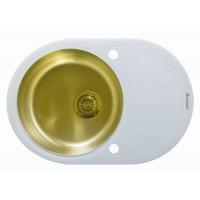 Мойка Seaman Eco Glass SMG-730 White Gold, золото/белое стекло