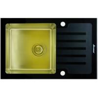 Мойка Seaman Eco Glass SMG-780 Black Gold, золото/черное стекло