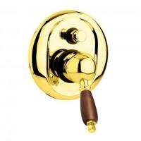 Смеситель Cezares Elite ELITE-VDIM-03/24-Nc для душа золото, ручки орех