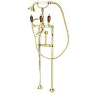 Смеситель Cezares First FIRST-VDPS-03/24-Nc для ванны золото, ручки орех