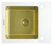 Мойка Seaman Eco Glass SMG-610W Gold (PVD), вентиль-автомат